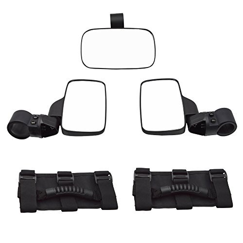Dasen Rear View Side Mirror for UTV 1.5 Inch Roll Bar Cage w/Center Rear View Mirror and Universal Grab Handle Set Fit Yamaha Honda ()