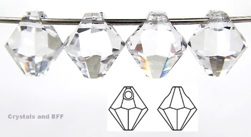 Machine Cut Bicone - 6mm Clear Crystal, Czech Machine Cut Top Drilled Bicone Pendant (6301 Shape), 12 pieces