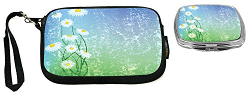 Floral Design Compact Mirror - Rikki Knight Floral Illustration Design Neoprene Clutch Wristlet with Matching Square Compact Mirror