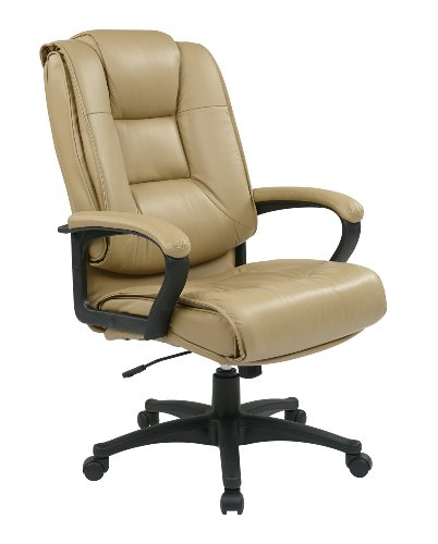 Office Star Glove Soft Leather Deluxe High Back Executive Chair with Fixed Arms, Tan