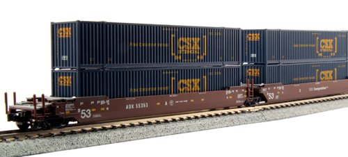 Double Stack Well Car (Kato USA Model Train Products Gunderson MAXI-I AOK #58153 Double Stack Car Set with HANJIN 40' Containers, 5-Unit Set)