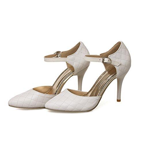 Spitze Spikes VogueZone009 Pumps Feste Spitze On Damen Schuhe Weiß PU geschlossene Pull Stilettos w11IpO