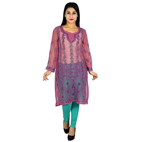 Diseñador de India étnicas Kurti regalo informal para ella Chikan bordado Kurta Pink-1