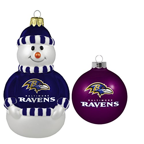 NFL Baltimore Ravens 2-Pack Snowman and Ball Ornament Set Nfl Baltimore Ravens Snowman