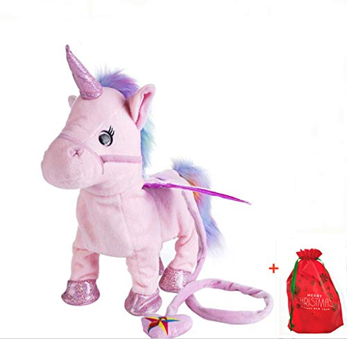 Electric Walking Unicorn Plush Toy Stuffed Animal Toy Electronic Music Unicorn Toy for Children 35cm (Pink) ()