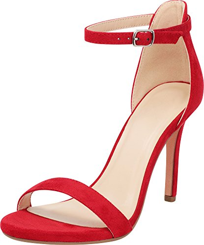 Red Strappy High Heel - Cambridge Select Women's Open Toe Single Band Buckle Thin Ankle Strappy Stiletto High Heel Dress Sandal,9 B(M) US,Bright Red IMSU