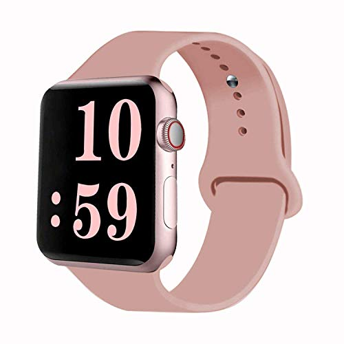 Cheap VATI Sport Band Compatible for Apple Watch Band 38mm 40mm, Soft Silicone Sport Strap Replacement Bands Compatible with 2019 Apple Watch Series 5, iWatch 4/3/2/1, 38MM 40MM M/L (Vintage Rose) cheap watch brands