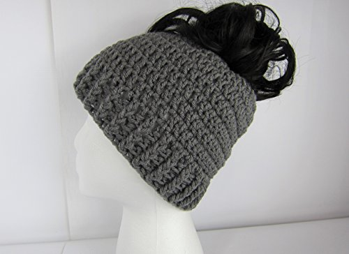 Handmade Messy Bun Hat, Crochet Messy Bun Beanie, Crochet Pony Tail Hat, Grey hat, Womens messy bun hat, teen ponytail hat, Juniors messy bun hat