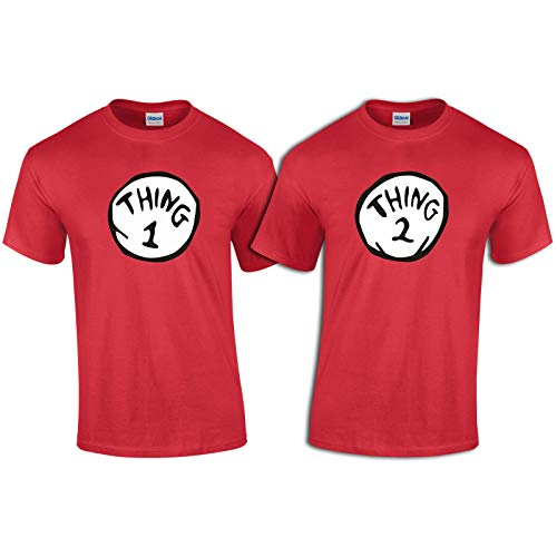 Hobbynica Thing 1 Thing 2 Youth Shirt - Thing 1-6 Halloween Costume - Thing 1 Thing 2 T Shirt (S, Thing 1) Red -