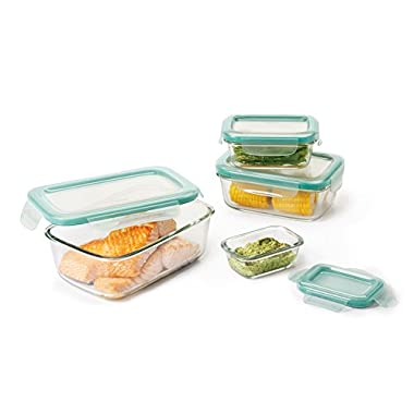 OXO Good Grips 8 Piece SNAP Leakproof Glass Rectangle Food Storage Container Set