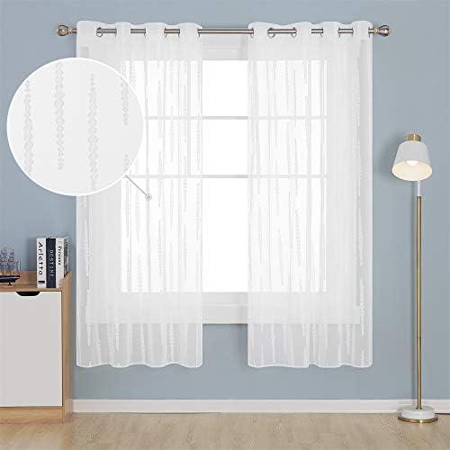 Deconovo Visillos Blancos Cortina Translucida Salón Infantiles para Ventanas Dormitorio para Habitacion Lino 140 x 175 cm Blanco: Amazon.es: Hogar