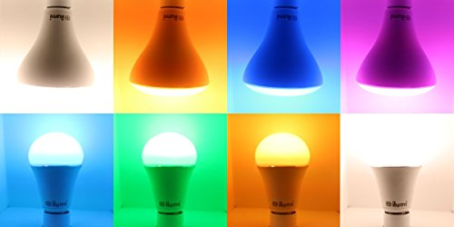 Ilumi Bluetooth Smart LED A19 Light Bulb, 2nd Generation   Smartphone  Controlled Dimmable Multicolored Color Changing Light ...