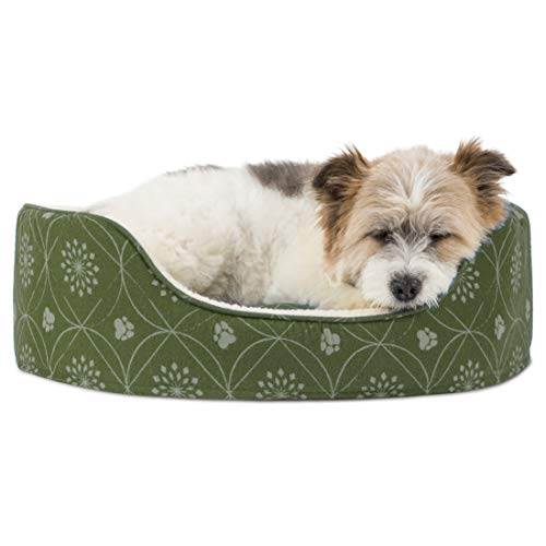 Furhaven Pet Dog Bed | Round Oval Cuddler Paw Print Décor Flannel Nest Lounger Pet Bed for Dogs & Cats, Jade Green, Medium