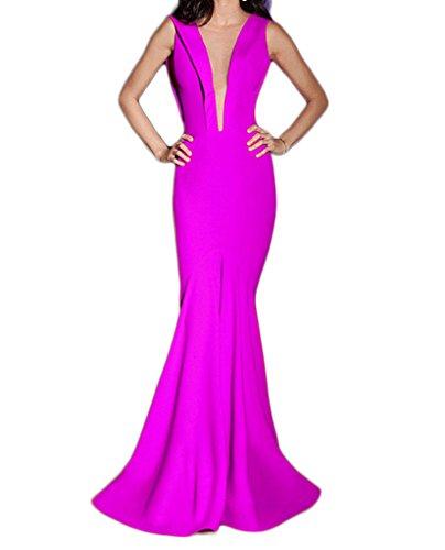 Formal Backless Sexy Dresses Long O Mermaid Neck Evening Women's Fuchsia Chupeng xqPBR0nOP