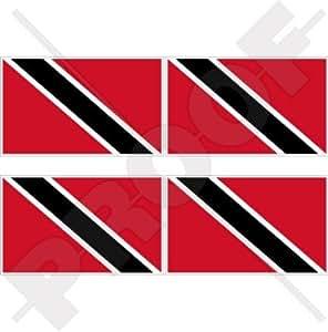 """TRINIDAD & TOBAGO Flag Caribbean 2"""" (50mm) Vinyl Bumper-Helmet Stickers, Decals x4"""