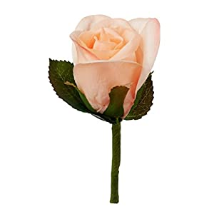 TheBridesBouquet.com Coral Peach Silk Rose Boutonniere - Groom Formal Boutonniere Prom 61
