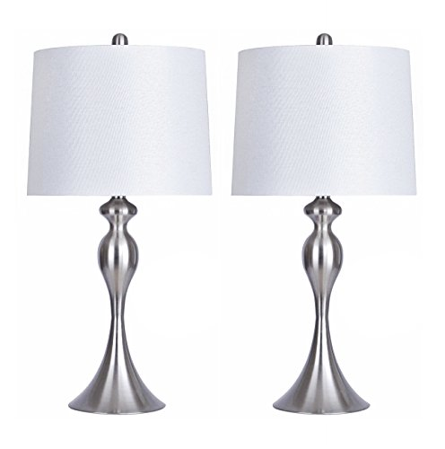 Grandview Gallery Table Lamps with White Shade, Set of 2 - Linen and Brushed Nickel 26.5