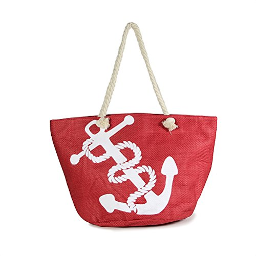 - Nautical Red Straw Tote Bag White Anchor Print Rope Handle Beach Shopping