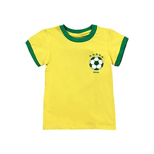 Juniors Baby Jersey T-shirt - Toddler Soccer T-Shirt World Cup 2018 Neymar Jr Brazil Jersey for Baby Kids (1T)