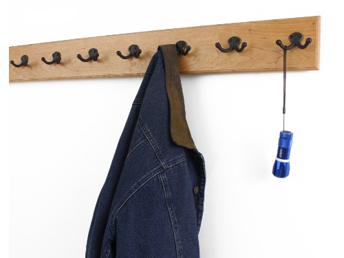 Solid Cherry Wall Mounted Coat Rack with Oil Rubbed Aged Bronze Coat Hooks - Double Style Wall Hooks - 4.5