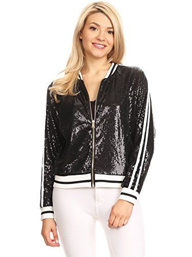 Anna-Kaci Womens Long Sleeve Front Zip Track Stripe Sequin Bomber Jacket, Black, Small