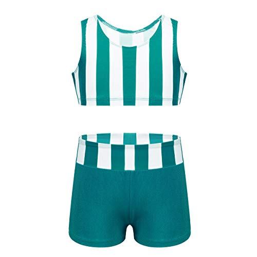 Agoky Girls' Childrens 2-Pieces Gymnastics Dancing Outfits Swimsuit Polka Dot Top Bra Shorts Clothes Set Teal Striped 7-8