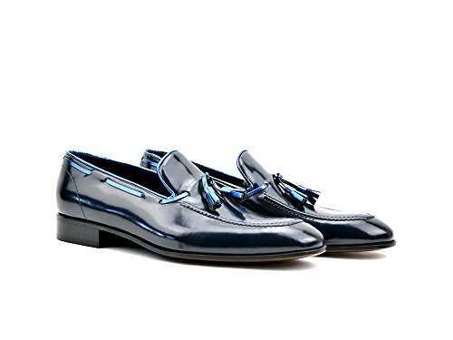 DIS Romeo - Shiny Blue Tassel Loafer Your own customized luxury shiny blue tassel loafer for men, 100% handmade in Italy. Ideal shoes for weddings and special events.