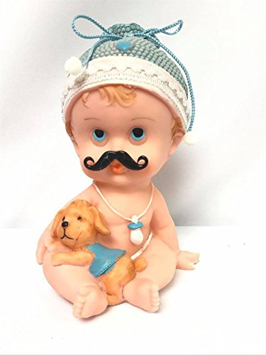 Baby Shower Large Baby with Mustache & Dog Cake Topper Centerpiece (Baby With Mustache)