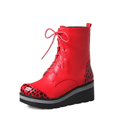 Up Lace Combat Bootie Platform Red Decostain Women's xwgqvOEpx