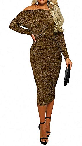 ECHOINE Womens Cocktail Dress - Sexy Elegant Sparkly Sequin Glitter Off Shoulder Bodycon Party Midi Dress Gold ()
