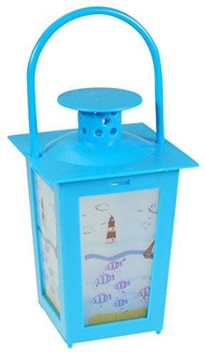 Immerschön Mini-Laterne blau mit LED-Teelicht incl. Batterie Kunststoff Deko Gartendeko