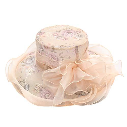 Geetobby Womens Wide Brim Flower Straw Hat Floppy Foldable Roll up Cap Beach Sun Hat UPF 50+ Bridal Tea Party Wedding Hat