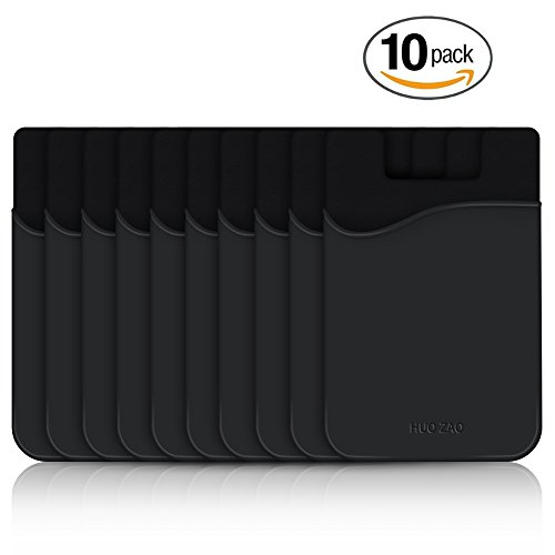 Phone Card Holder, HUO ZAO Silicone Credit Card Id Cash Wallet with 3M Adhesive Stick-on fits Apple iPhone Samsung Galaxy Android Most Smartphones, Table, Refrigerator, Door - Black Color - 10 Pack