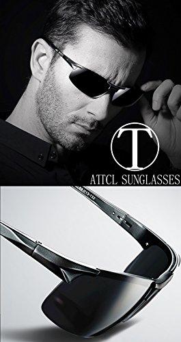 ATTCL Homme Lunettes De Soleil Polarisé Al-Mg métal Cadre super léger Noir