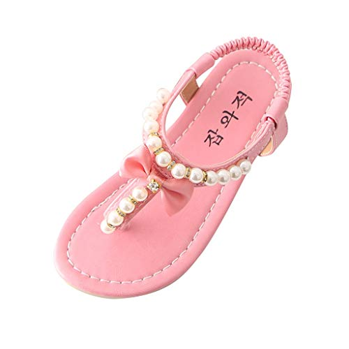 (Alimao Children's Flat Kids Sandal Baby Girls Casual Shoes Bowknot Pearl Casual Princess Sandals Shoes,Flat Thong Sandals Pearl Slip on Roman Shoe )