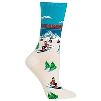 Hot Sox Women's Travel Series Novelty Crew Socks, Colorado (Sky Blue), Shoe Size: 4-10