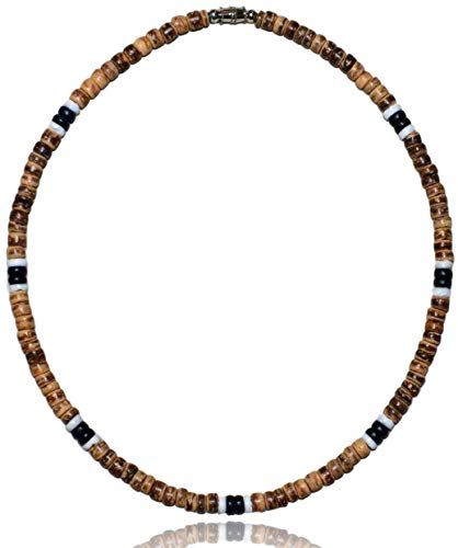 Native Treasure - 18 inch Men's Brown Tiger Coco Bead 2 Black 2 White Puka Shell Surfer Necklace