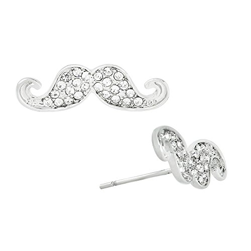 Liavy's Mustache Fashionable Earrings - Stud - Sparkling Crystal - Unique Gift and Souvenir