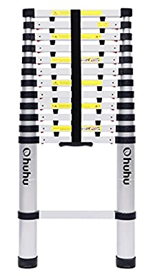 Ohuhu Aluminum Telescopic Extension Ladder, ONE-Button RETRACTION New Design Telescoping Ladder, ANSI Certified Extendable Ladder with Spring Loaded Locking Mechanism, 330 Pound Capacity