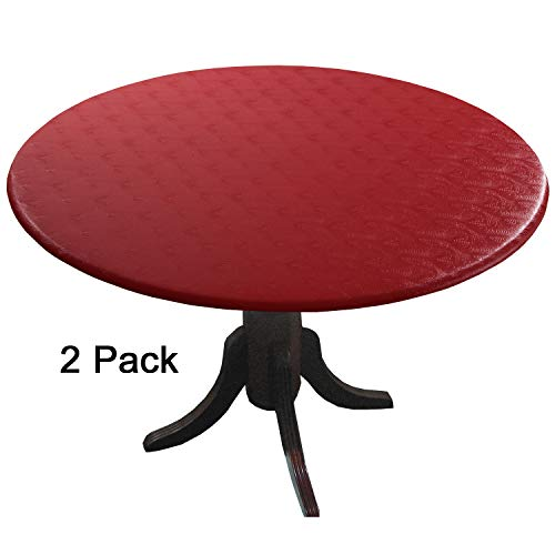 Round Red Vinyl - 2 Pack - Econotex Mandarin Red Fitted Tablecloths, (tablecovers, Table Covers) in Neutral Shades That Blend with Any Decor. The