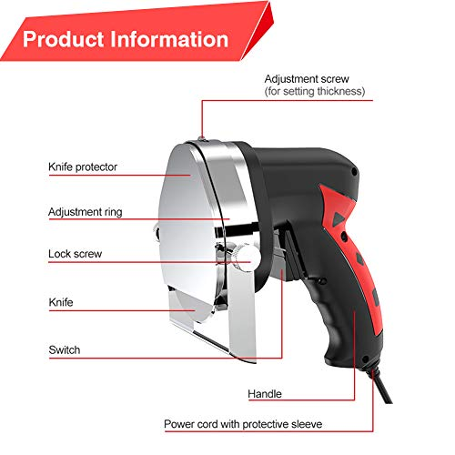 Turkish Gyro Round Electric Shawarma Shaver Knife Portable Gyroknife Small Chawerma Doner Cutter Handheld Kebab Knife Professional Meat Slicer Machine, 0~8mm Meat Thickness Adjustable (Red) by Rbaysale (Image #4)