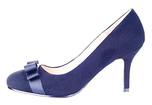 Verocara Womens Grosgrain Bow Gonnellino In Camoscio Con Cinturino In Pelle Scamosciata Blu Scuro