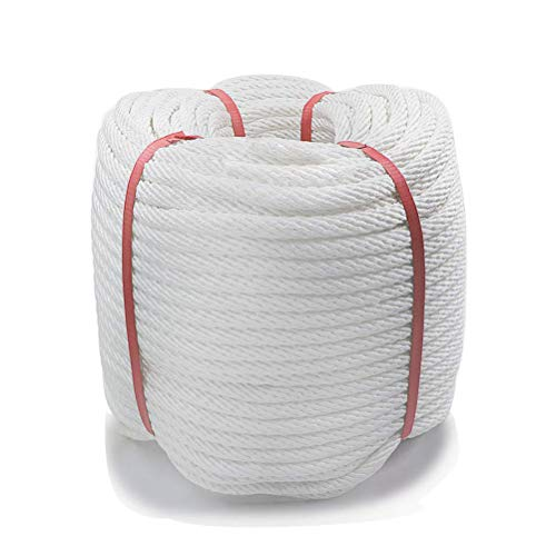 Aoneky 1/2 inch Nylon Double Braided Rope - White Pull Rope Cord (150 Ft)