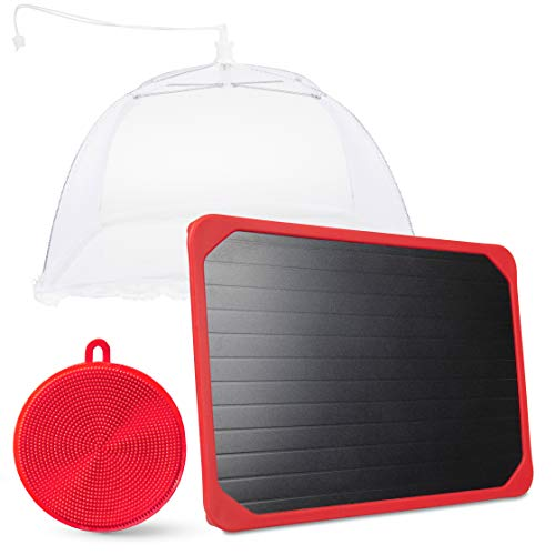 DEFROSTING TRAY with red silicone border, thawing food faster, Dishwasher friendly, no elecritcity