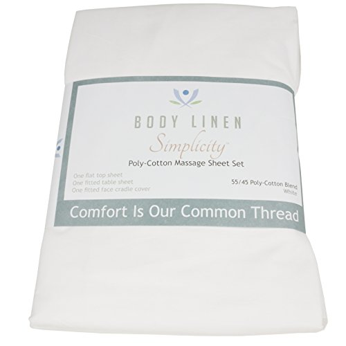 Massage Table Sheet Set by Body Linen {White Poly/Cotton} - Extra-Large Sheet for Optimum Coverage and Fit with Standard Size Tables and Face Cradles - Super Soft and Durable for Professional Use
