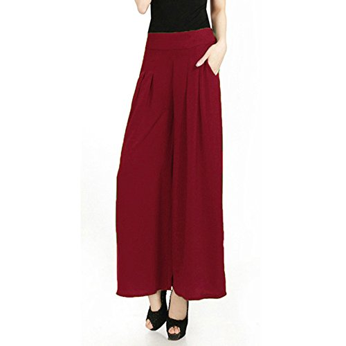Fashion Summer Womens Pantalones anchos Women Loose Elastic Waist Trousers Female Casual Solid Color Ankle Length Pants One Size