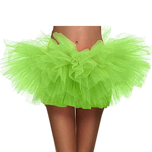 SSYongxia❤ Women Classic 5 Layered Tulle Tutu Skirt -Adult Ballet Style Tutu for Valentines, Princess Tutu, Dance Green