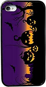 Rikki KnightTM Halloween Lighted Pumpkins on Purple Design iPhone 5 & 5s Case Cover (Black Rubber with bumper protection) for Apple iPhone 5 & 5s