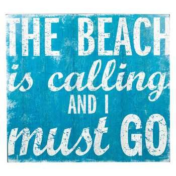 Blue The Beach Is Calling Wall Plaque Home Media Room Theater Room Decoration by onlinepartycenter