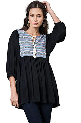 Umgee Women's Bohemian Embroidered Baby Doll Tunic Top (Small, Black)